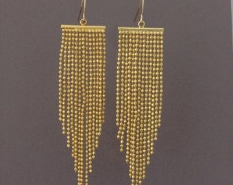 SALE Gold Long Fringe Chain Earrings