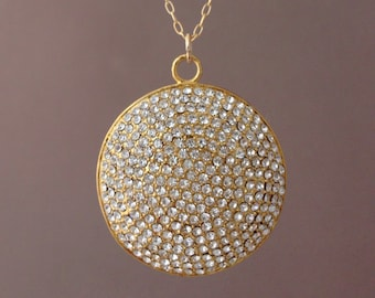 Long Large Gold Pave Crystal Sparkling Necklace 30 32 34 36 inches