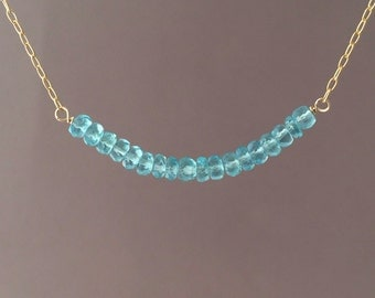 Blue Apatite Beaded Necklace Gold or Silver
