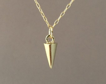 Tiny Gold Spike Necklace