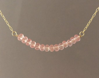 Pink Rose Quartz Beaded Necklace available in gold, rose gold, or silver