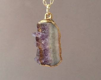 Small Gold Amethyst Stalactite Slice Necklace
