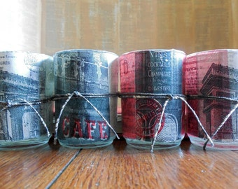 Decoupage Candle Holders // Votive or Tea Light // Paris Cafes, Arc de Triomphe and French Postage Paper//Red Black and Grey// Handmade Gift