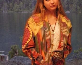vintage ethic jacket / tattoo Ikat uzbek colourful embroidered coat / woven cotton blazer jacket with tribal folk festival vibes