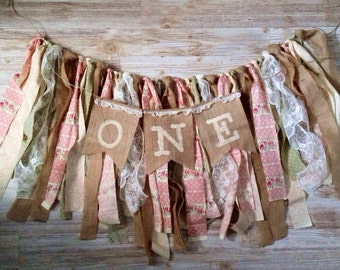 Shabby Chic scrappy First 1st One Birthday Banner Burlap Bunting Photo Prop back drop