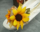 Sunflowers Wedding Flats Shoes, burlap, rustic, ivory sunflower shoes, perfect outdoor, garden, rustic, country, fall autumn wedding