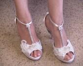 White Wedding Heels Marie Antoinette Modern Version, White Satin Platform Peep Toe T Strap High Heels, Bling, Great Gatsby, Edwardian