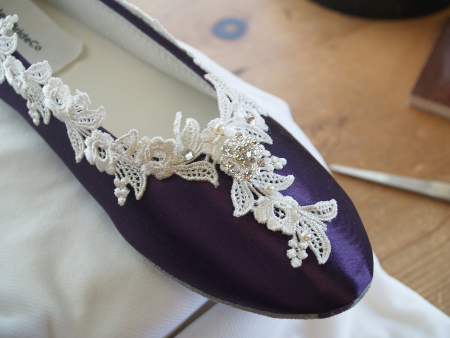 Purple Low Heel Wedding Shoes