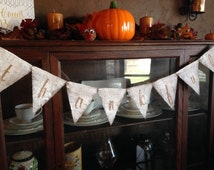 THANKFUL BANNER / BUNTING / Thanksgiving Decor / Thanksgiving Banner / Thankful Banner / White Wash With Champagne Glitter