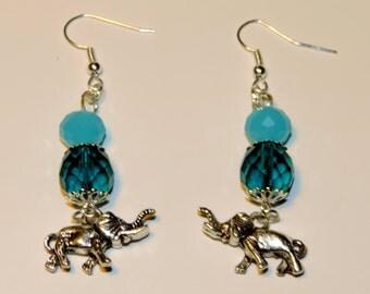 Pretty Blue Zircon Beaded Elephant Dangle Earrings