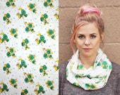 sale INFINITY SCARF vintage fabric floral green yellow white retro light weight cowl gift christmas