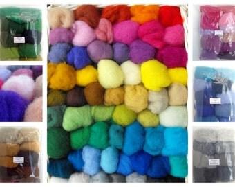 Wool Carded Felt Short Fibre Wet Dry Needle Felting Embellishment Crafts 500g /17.6 ounces 50 colours by thefeltbox