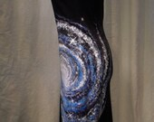 Starting at 80USD Please contact before ordering Your color choices, hand painted, one of a kind long, galaxy nebula star cosmos space dress