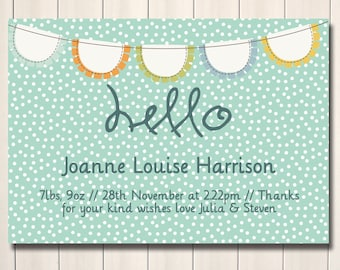 Blue and mint bunting sweet hello printable birth announcement