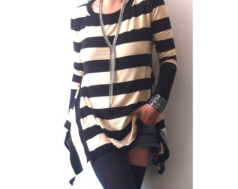 Striped Top Asymmetric Oversized Wide Top Loose Asymmetrical Tunic KaftanBlouse Scoop Neckline Top Long Sleeves Blouse Overize Strip Top