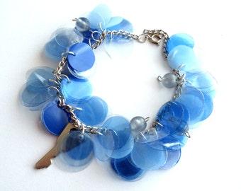 Blue charm bracelet made of recycled plastic cluster bracelet eco friendly jewelry key bracelet repurposed jewelry upcycled bracelet