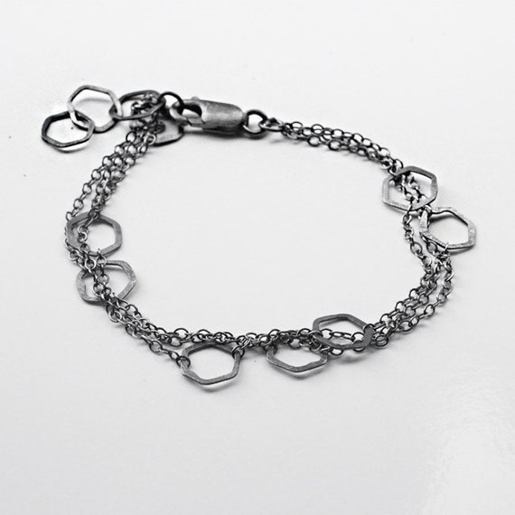 Hexagon Chain Bracelet, geometric bracelet, hammered and delicate, modern minimalist, modern geometric jewelry