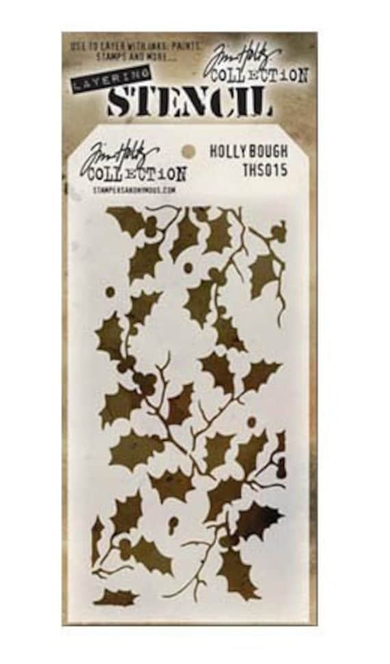 30% OFF TODAY ONLY - Tim Holtz - Layering Stencil - Holly Bough