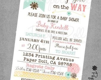 Baby Shower Invitations - B is for Baby - Baby Girl Invitations - Flowers - Pink - Teal - Printed Invitations