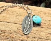 Boho Chic Jewelry. Silver Feather Necklace. Oval Feather Pendant Necklace with Turquoise. Heavy Sterling Chain.