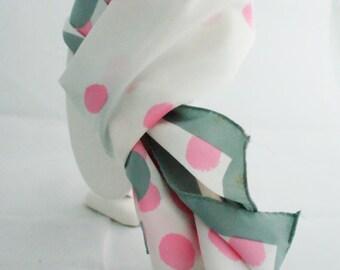 Scarf- Long Vera Pink Gray polka dot 1960s Long Rectangular Neumann