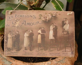 vintage French levels of love, sepia photo image on shabby chic wooden tag,with string hanger-romance,couples