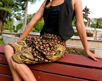 Thai Harem  pants, Xtra Short, Cotton, Brown w red, blue & gold elephant print details