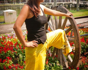 Light Weight  Pants in Yellow w Thai Design