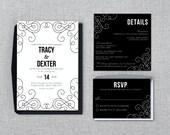 Art Deco Wedding Invitation Bundle - Invitation, RSVP & Info Card  - Instant Download - Editable MS Word Doc