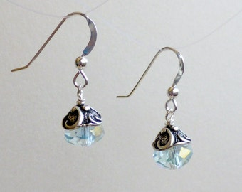 Pale Blue Crystals and Pewter Swirls on sterling earwires
