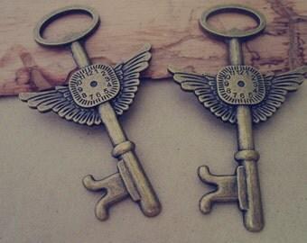 10pcs of  antique bronze  Key pendant charm 44mmx75mm