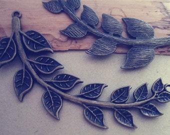 2pcs  Antique bronze leaves pendant charm 28mmx86mm