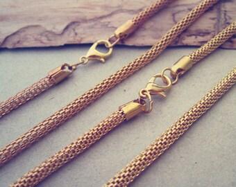 10pcs 44cm Gold  color pendant chain 3mm