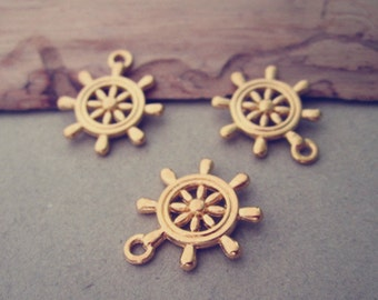 10pcs gold color rudder pendant charm 19mmx23mm