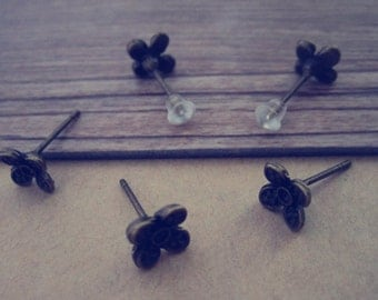 20pcs  antique bronze flower ear hooks base 7mmx15mm