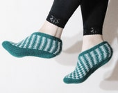 Crochet Slippers in Teal, Womens Home slippers, Turkish knit Slippers, striped socks, Authentic footwear, Teal White Slippers, Home Slipper