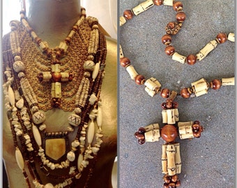 Miriam Haskell funky faux bamboo cross necklace russian gold wood and gorgeous findings signed vintage designer collectable 1960s