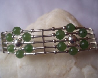 "Jade & sterling silver ""Flower"" bracelet"