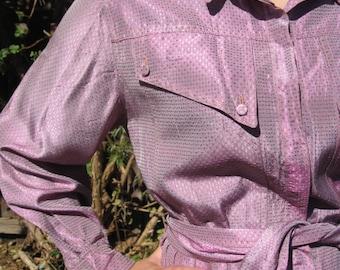 Gorgeous 1970s Prue Acton Purple Lustre Long Sleeve Shirt Waist Dress  / Vintage 12 - Sz S, M