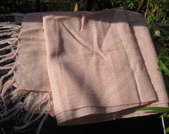 Wrapped in Silver ~ 1970s pink shawl ~ silver lurex thread