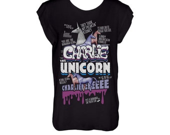 Charlie the unicorn black humour tshirt scoop neck and cropped hems (laser cut)