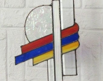 Stained Glass Abstract Suncatcher with Bevel