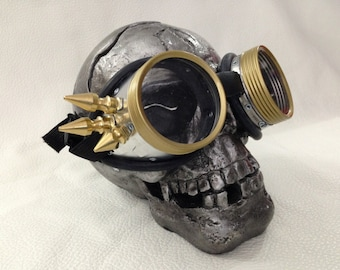 Mad Max Goggles, Steampunk Goggles, Burning Man Goggles, Cyberpunk, Cosplay, Dieselpunk, Cyber Goth, Goggles, Costume, Spikes, Brass, Silver