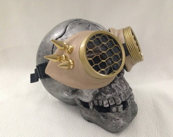 Steampunk goggles Tan Leather Wing  spikes Honeycomb lens. Air pirate eyewear