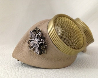 Steampunk goggles Tan Leather Large bee Waspeye template lens. Burning man eyewear