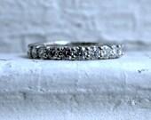 Vintage 14K White Gold Diamond Eternity Wedding Band - 2.10ct.