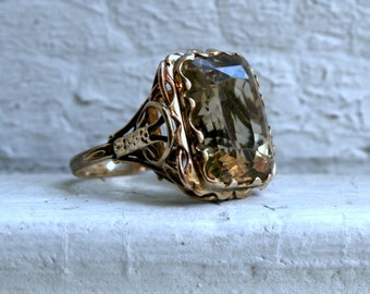 RESERVED - Vintage 14K Yellow Gold Citrine Ring.