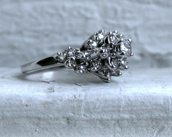 Retro Vintage 18K White Gold Diamond Cluster Engagement Ring - 1.37ct.