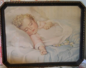 "On Sale! Vintage Large Baby Print by Annie Benson Muller ""Just A Little Dream"" with Original 1930's Frame, Nursery Decor"