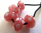 handmade lampwork glass beads, pearl pink spots